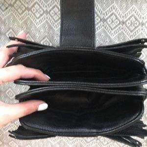 Bags - Black and silver fringe clutch